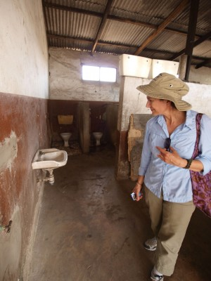 <p>Christine Moe on a site visit in Ghana</p>