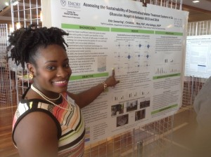 <p>WASH Certificate Student, Erin Swearing, presents poster at Environmental Health Poster Session, 2015.</p>