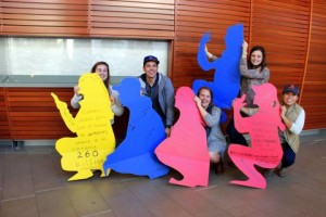 <p>Students create squatting figures to raise awareness about the practice of open defecation on World Toilet Day 2015</p>