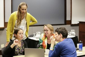 <p>Emory staff and students preparing for presentations at the 2014 UNC Water and Health Conference by UNC Photos</p>