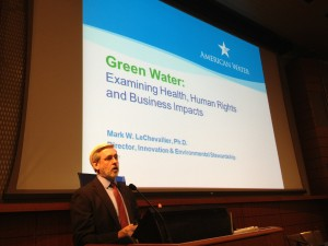 <p>Dr. Mark LeChevallier giving keynote address at CGSW 2014 World Water Day event.</p>